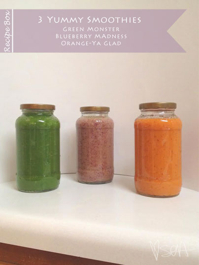 3 Yummy Smoothies: Green Monster, Blueberry Madness, Orange-ya Glad via SOAinspired