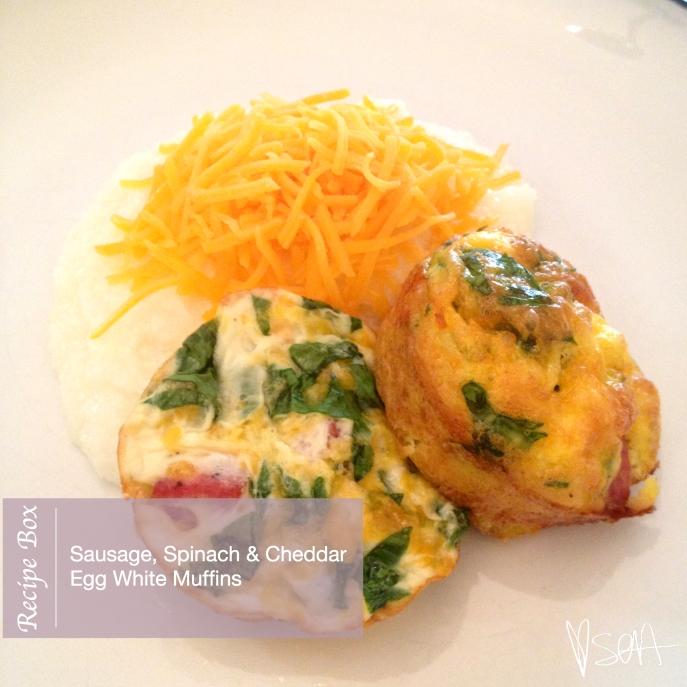 Recipe Box: Sausage Spinach and Cheddar Egg White Muffins via @soainspired